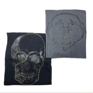 True Religion Graphic Studded Skull Buddha Shirts
